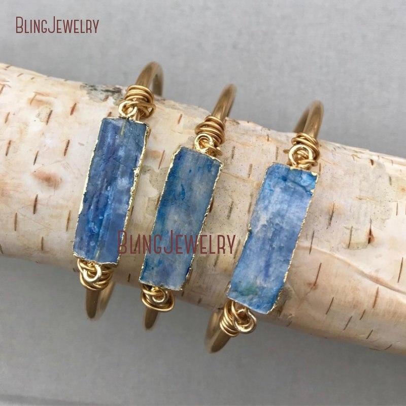 Raw Kyanites Bar Cuff Stone Bar Bracelet Bangle Raw Brass Adjustable Cuff Boho JewelryDenim Jeans Bridesmaid Gift BM11244