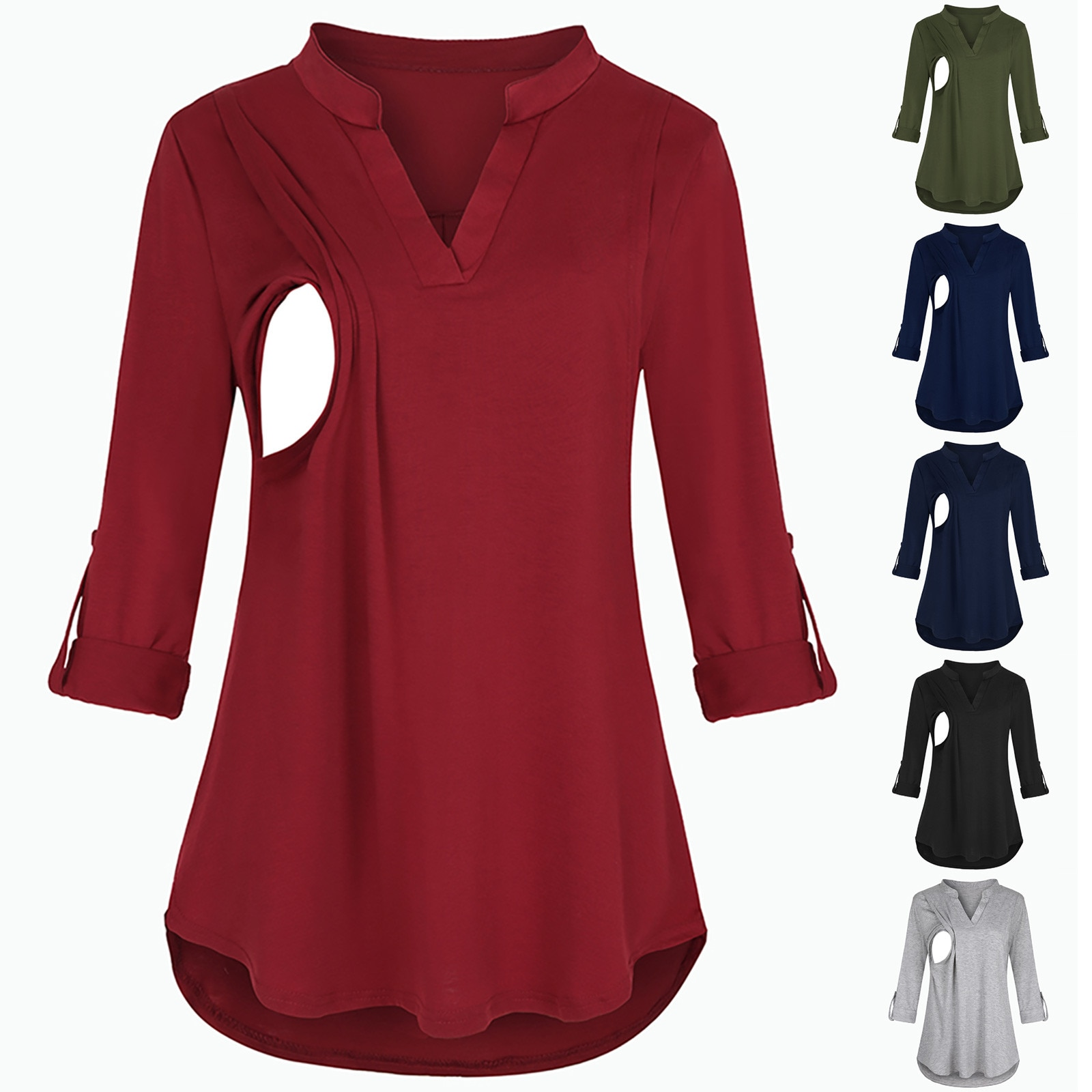 nova camisa de maternidade roupa de cor solida com mangas compridas camiseta para