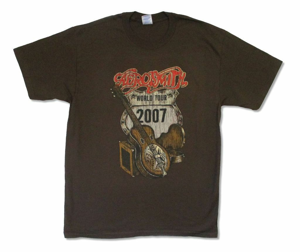 Aerosmith afligido guitarra world tour 2007 brown t camisa nova oficial europa reino unido