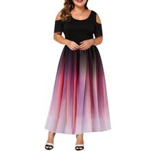 2019 novo design de moda vestido feminino plus size gradiente elegante cor oco para fora vestido de manga curta verão casual festa