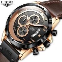 lige reloj deportivo informal para hombres cron%c3%b3grafo de pulsera de cuero militar de lujo mejores marcas relojes para hombres