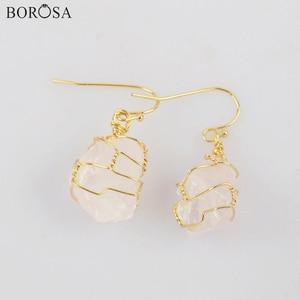 Healing Crystal Earrings Gold Wire Wrapped White Quartz Dangle Earrings White Crystal Drop Earrings Healing Stone Earring WX1861