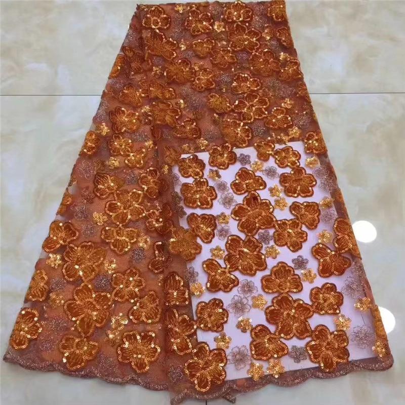 Alta calidad 5 yardas lentejuelas bordado encaje neto hilo naranja tela de tul africano DIY encantador vestido de noche mantel