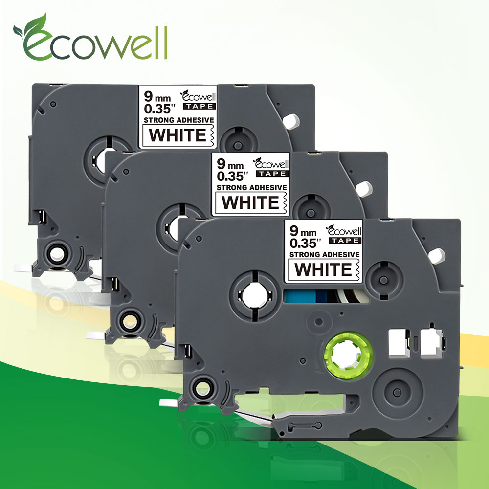 Preto na Fita Branca da Impressora para a Impressora do P-toque Tzes221 do Cartucho Tze-s221 da Fita do Tze de Ecowell Fita Adesiva Forte 9mm Tze S221