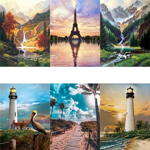 New Arrive DIY Oil Pictures By Numbers Landscape Acrylic Drawing Canvas Oil Painting Numbers For Adults Home Decoration Gift
