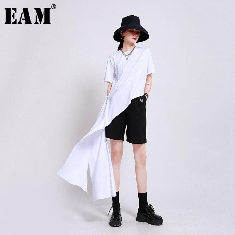 [EAM] Camiseta larga con articulación dividida Irregular blanca para mujer, nueva camiseta con cuello redondo, manga corta, tendencia de moda para primavera y verano 2020 1W944