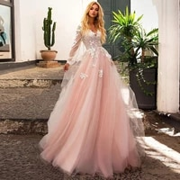 2021 pink a line v neck wedding dress long sleeve appliques lace wedding gowns custom made