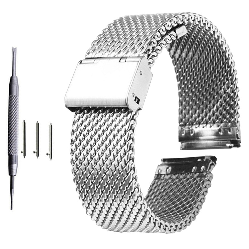 AliExpress - 18mm 20mm 22mm 24mm Universal Milanese Watchband Quick Release Watch Band Mesh Stainless Steel Strap Wrist Belt Bracelet Black
