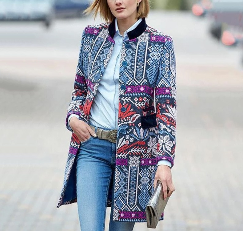 Abrigos casuales de lana de invierno a la moda con una sola hilera de botones estampados abrigo largo de mezcla de lana y chaqueta de moda de cintura ancha Femenino