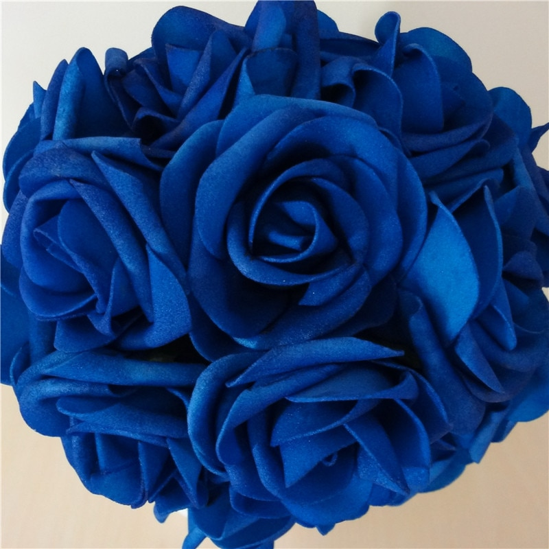 50X Royal Blue Roses Artificial Flowers DIY Bridal Wedding Bouquet  Wedding Centerpices Wholesale Lots