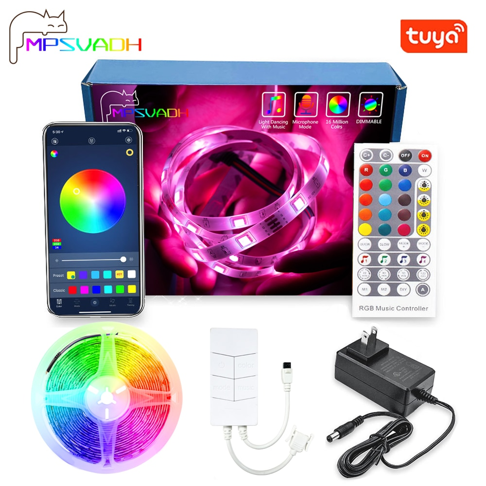 LED Light Strip WIFI RGB 5050 Work With Alexa Google Assistant Phone APP DIY Color TV Computer Bedro