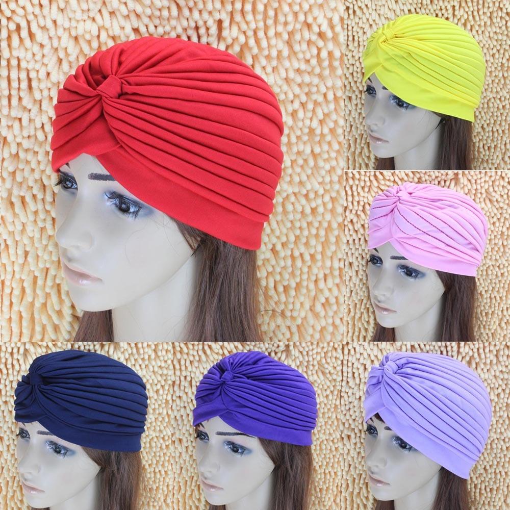 Women Adjustable Swimming Cap Swim Pool Bathing Hat Protect Long Hair Ears Turban Pleated Fabric Hea