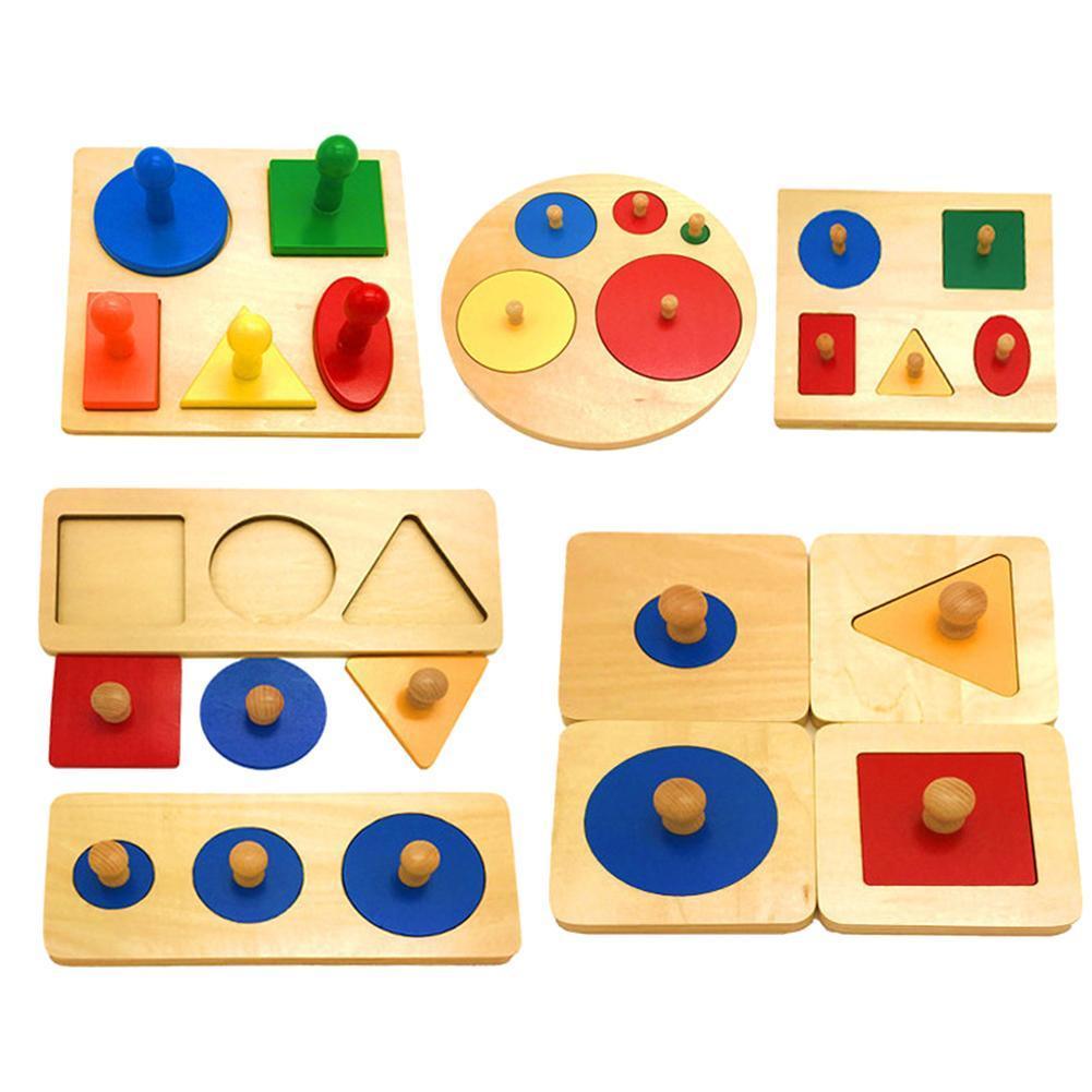Montessori Wood Knob Puzzle Peg Board Geometric Shape Match Baby Educational Toy