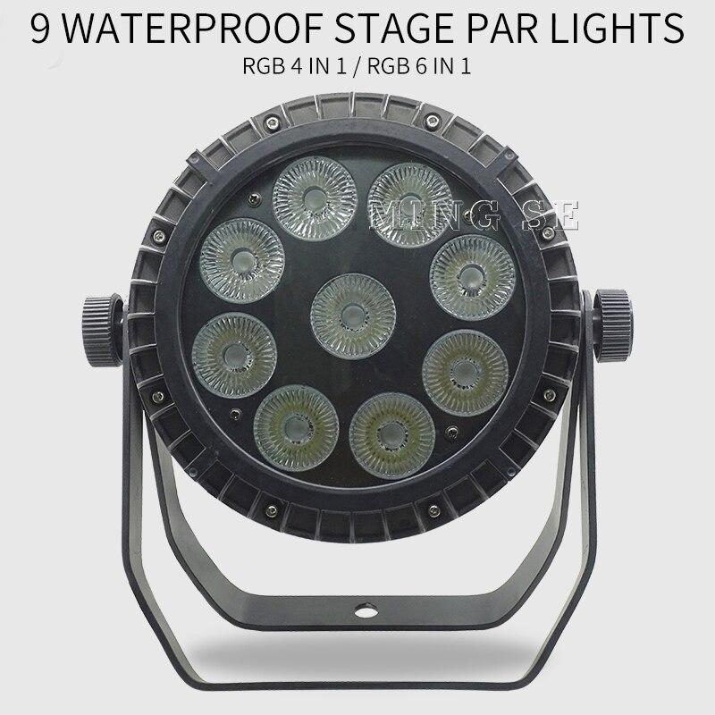 IP65 إضاءة مقاومة للماء مصباح موازي المستوى 9*10 واط 4in 1/9x15 واط 5in1 / 9x18 واط 6in1 في الهواء الطلق مقاوم للماء ضوء المرحلة 9x10 واط عدسة كبيرة Led الاسمية 64