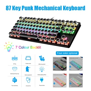 Wired Gaming Mechanical Keyboard General Punk Round Key Cap 87 Keys Axis Keyboard for Gaming Competitive Office Notebook