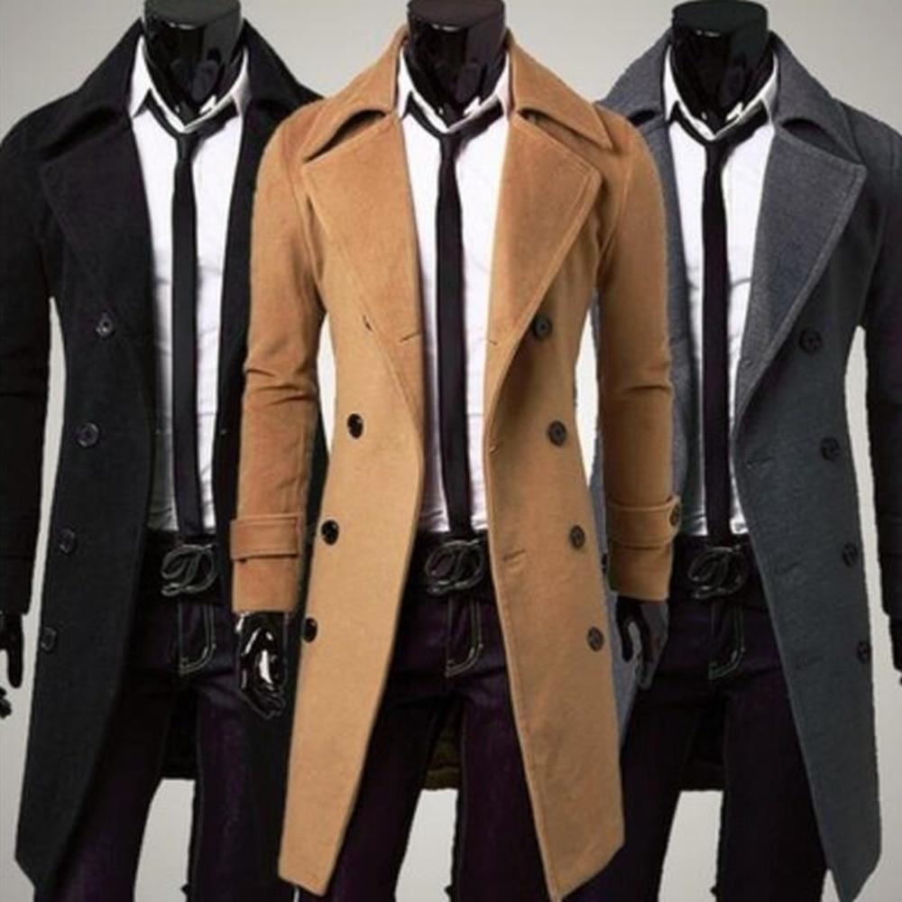 Zogaa 2021 الخريف والشتاء بوتيك الموضة الرجالي الجديد بلون الأعمال الصوفية الموضة مصمم الرجال معطف طويل