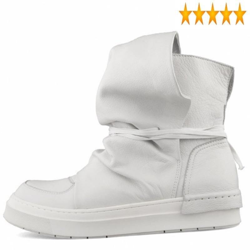 شارع العليا الرجال عالية الجودة الفاخرة جلد البقر منصة أحذية رياضية 2021 الخريف جولة تو الشرير القوطية المدربين أبيض/حذاء أسود