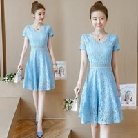 2021 new summer lace chiffon womens dress lace v neck short sleeve knotted casual hedging dress gauze streetwear knee length
