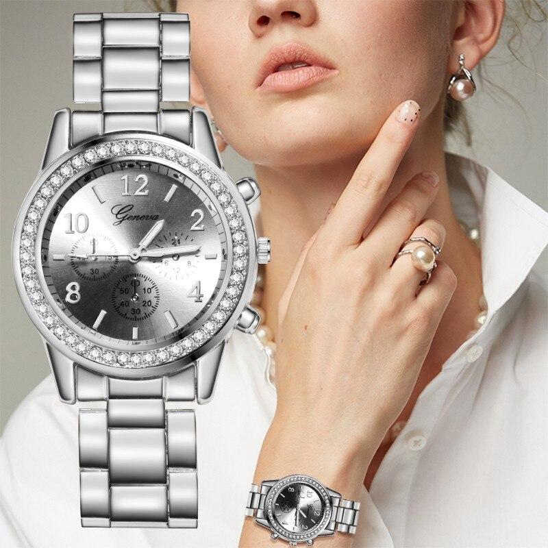 Женские часы Европа и самые популярные модные повседневные женские часы роскошные золотые полностью бриллиантовые часы из нержавеющей ста...
