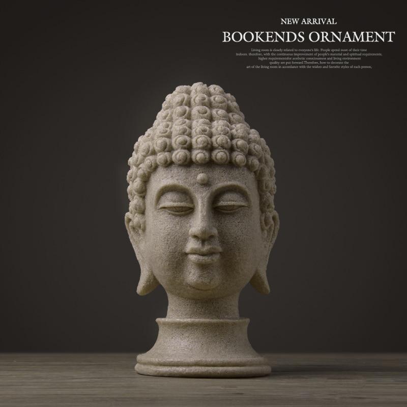 Estatua de Buda estatuillas para jardín de resina budismo chino gran cabeza de Buda piedra arenisca estatua decoración de Buda