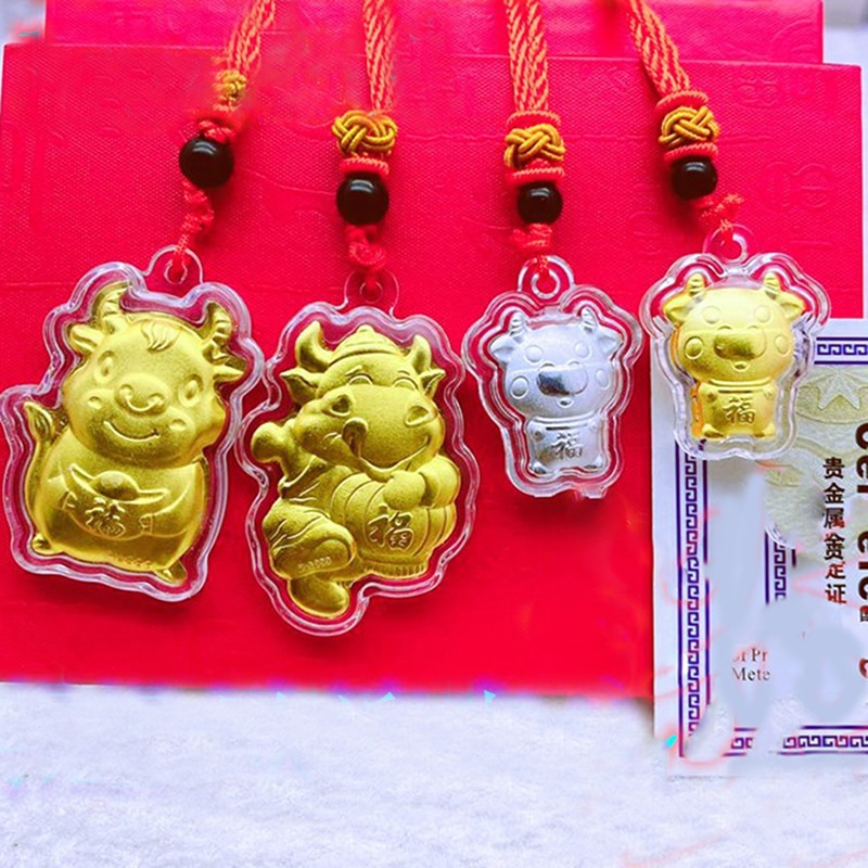 2021 jahr von Ox Münze Chinesische Gedenk Souvenir Geschenk Anhänger Decor Neue Party-DIY-Dekorationen    -