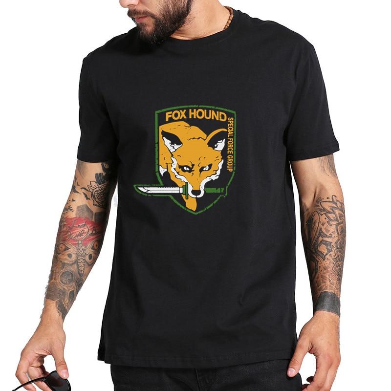 Металлическая шестерня, одноцветная футболка MGS Fox Hound для мужчин и мужчин, модная футболка 2015, хлопковая футболка с коротким рукавом, футбол...