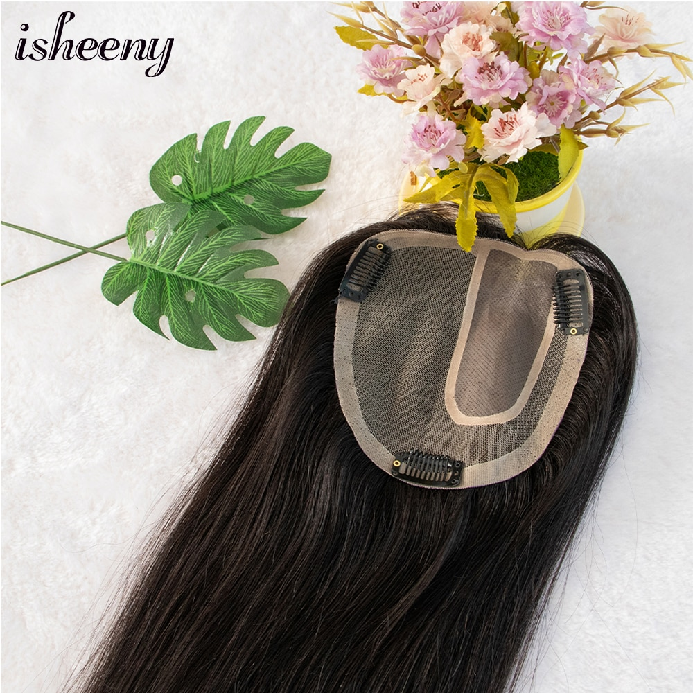 Isheeny Human Hair Pieces For Women Natural Black Color 14 Inch Side Part 12X14cm Full Lace Human Hair Topper 100% Remy Hair