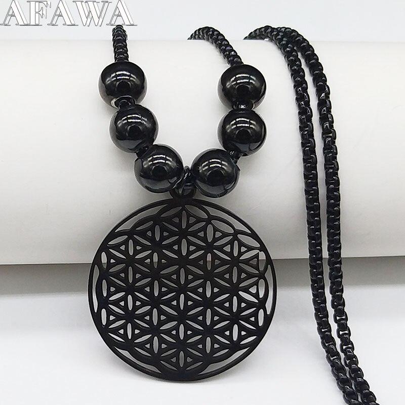 Collares largos de acero inoxidable con flor de la vida 2020 para mujer, collar llamativo de cuentas de Color negro, joyería de cadena para hombre N424S03