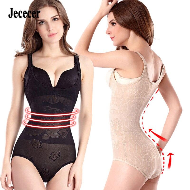 Jececer body shapers lightweight bodysuit for women slimming underwear shapewear stretch nude black XS-2XL
