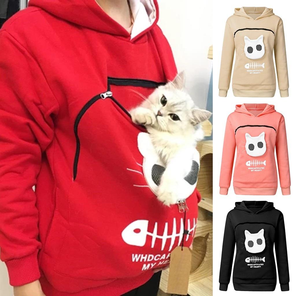Женские толстовки с капюшоном и карманом-кенгуру с изображением животных, кошек, рыбьей кости, пуловеры для переноски домашних животных, сохраняющие тепло, для маленьких кошек и щенков, пот