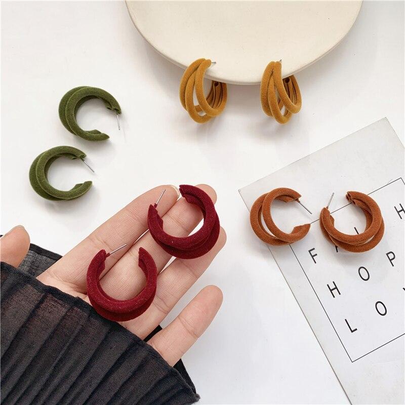 Nuevos pendientes de terciopelo de felpa de invierno en forma de C, pendientes Vintage con temperamento joker para mujer, joyería fina