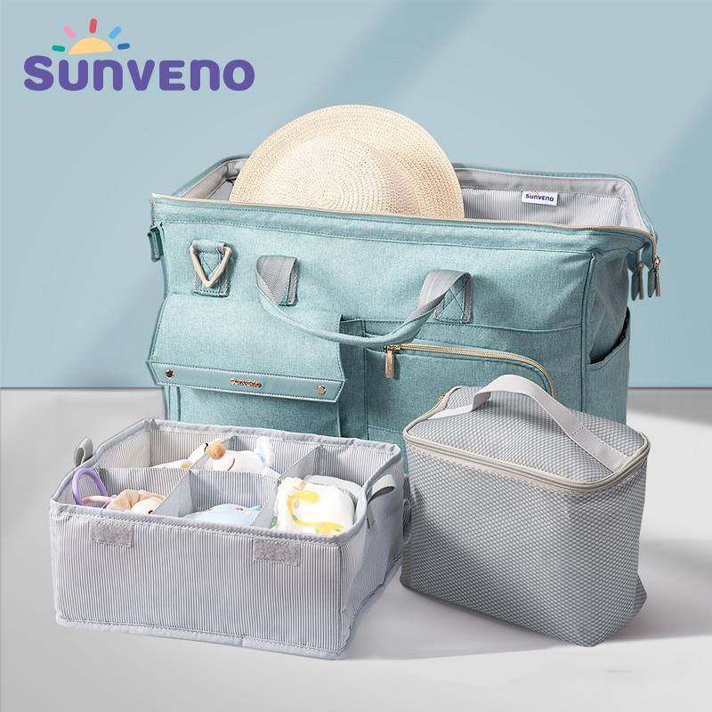 3 unids/set Sunveno bolsa de pañales para bebés de gran capacidad bolsa de pañales impermeable mochila de hombro para madre de moda bolsa de viaje de maternidad para bebés
