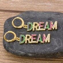 Новые модные классические серьги-капельки в форме мечты золотого цвета, разноцветные чешские камни для женщин и девочек, вечерние, свадебны...