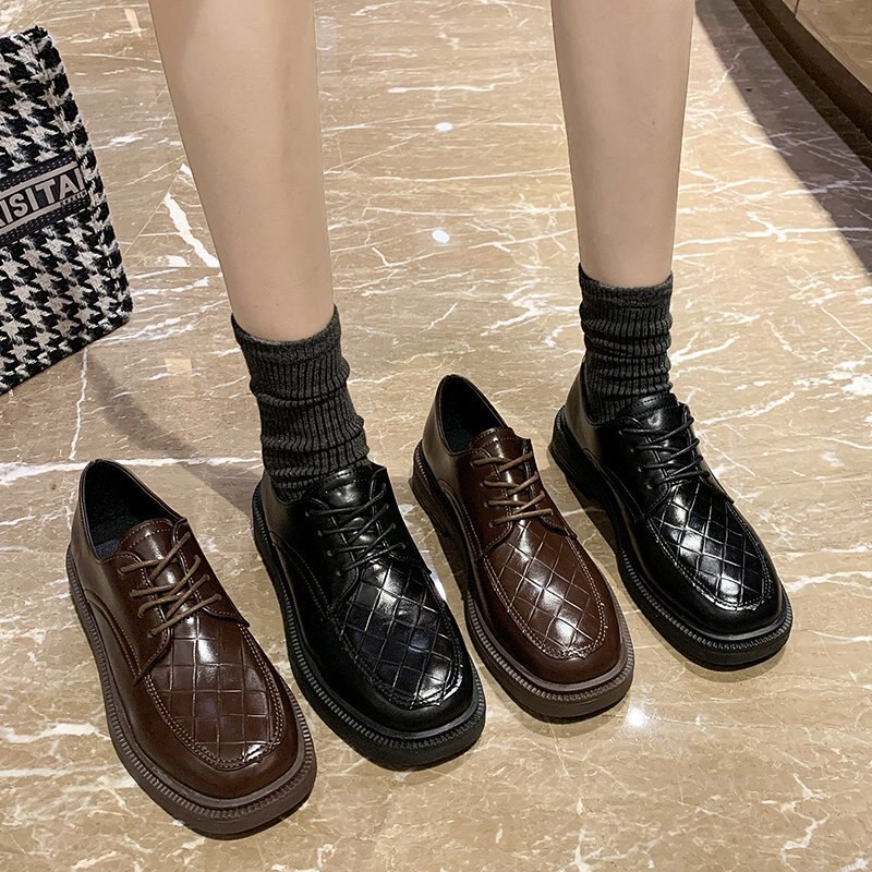 Leather shoes British style Autumn retro small leather Womens all-match college low-heeled X702