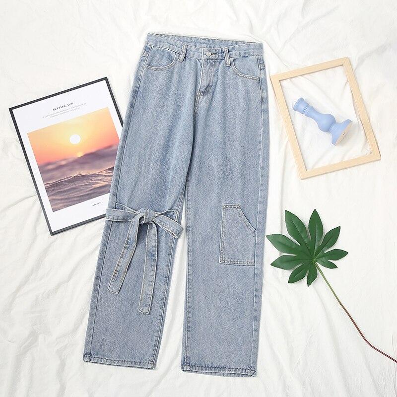 Джинсы женские с завышенной талией и бантом, прямые свободные брюки-трубы с широкими штанинами, трендовые джинсы МОМ с завышенной талией, ве...