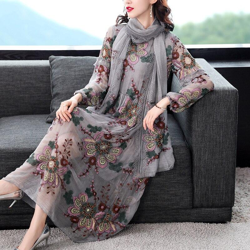 عالية الجودة 100% فستان حريري امرأة أنيقة فساتين غير رسمية للنساء ميدي فستان بكم طويل ربيع الخريف 2021 Vestidos Pph3309