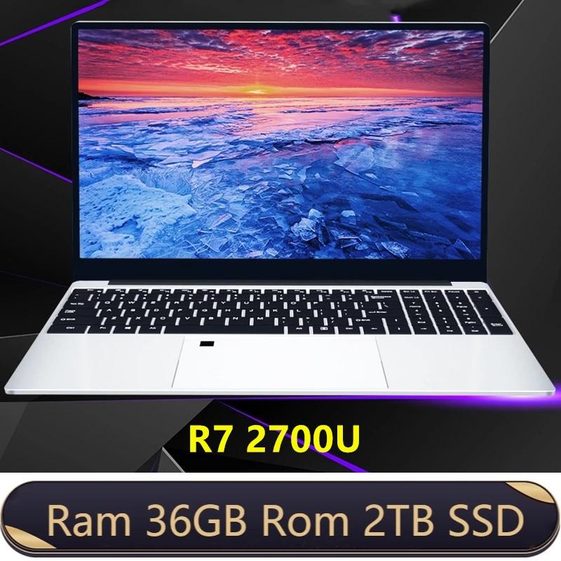 Review Max RAM 36GB Rom 2TB SSD Ultrabook Metal Computer 2.4G/5.0G Bluetooth Ryzen R7 2700U windows10 Metal portable gaming laptop