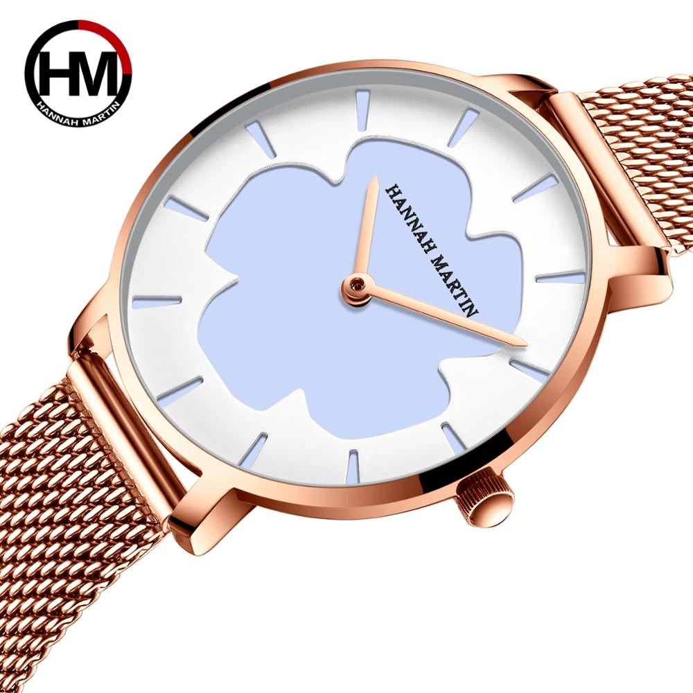 Drop Shipping New Black Technology Magic Flower Change Color in the Sun Stainless Steel Mesh Band Japan Quartz Watches for Women enlarge