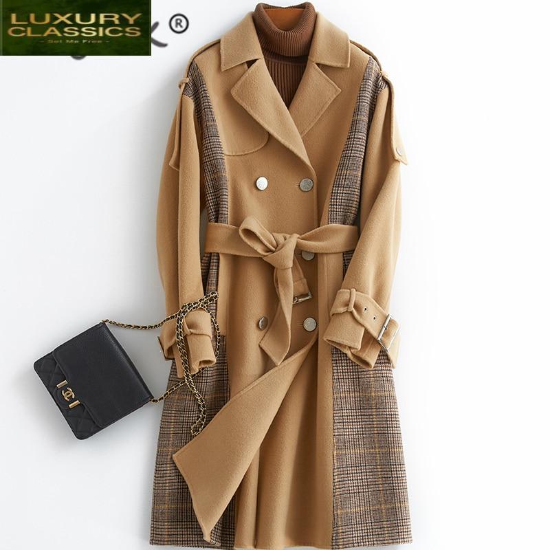Abrigo elegante de lana para 100%, chaqueta de invierno para Mujer, Abrigo...