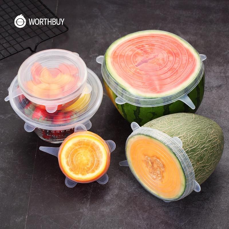 WORTHBUY 6 Pcs/Set De silicona de alimentos tapa Universal de silicona tapas para utensilios de cocina plato reutilizable de tapas para cocina Accesorios