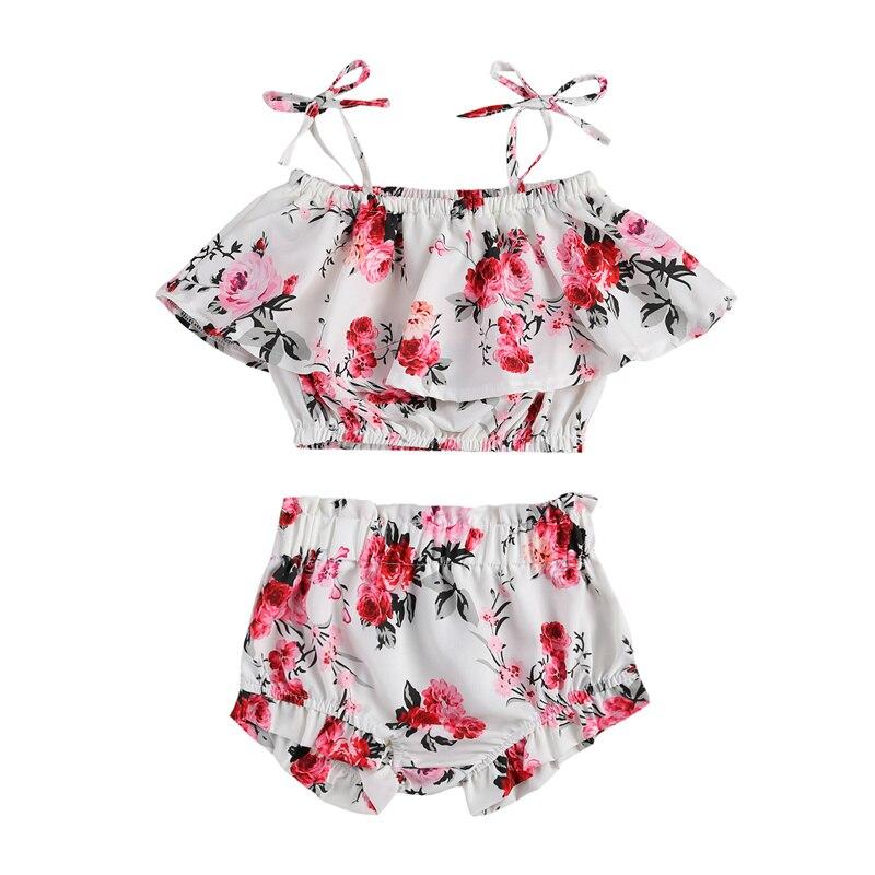 2 вида стилей, новая модная детская одежда, 2 шт. комплект для малышей одежда для малышей-плеча уздечка U-воротник с оборками платье на бретеля...