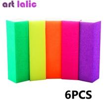 6pcs Nail Buffer Block Neon Color Buffing Sanding Buffer Block Files Manicure Nail Art Tips Women Ho