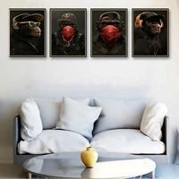 Chimpanzee     affiche en papier Kraft  Style de mode abstrait  peinture sur toile  affiche dart murale  affiches de salon  decoration de maison