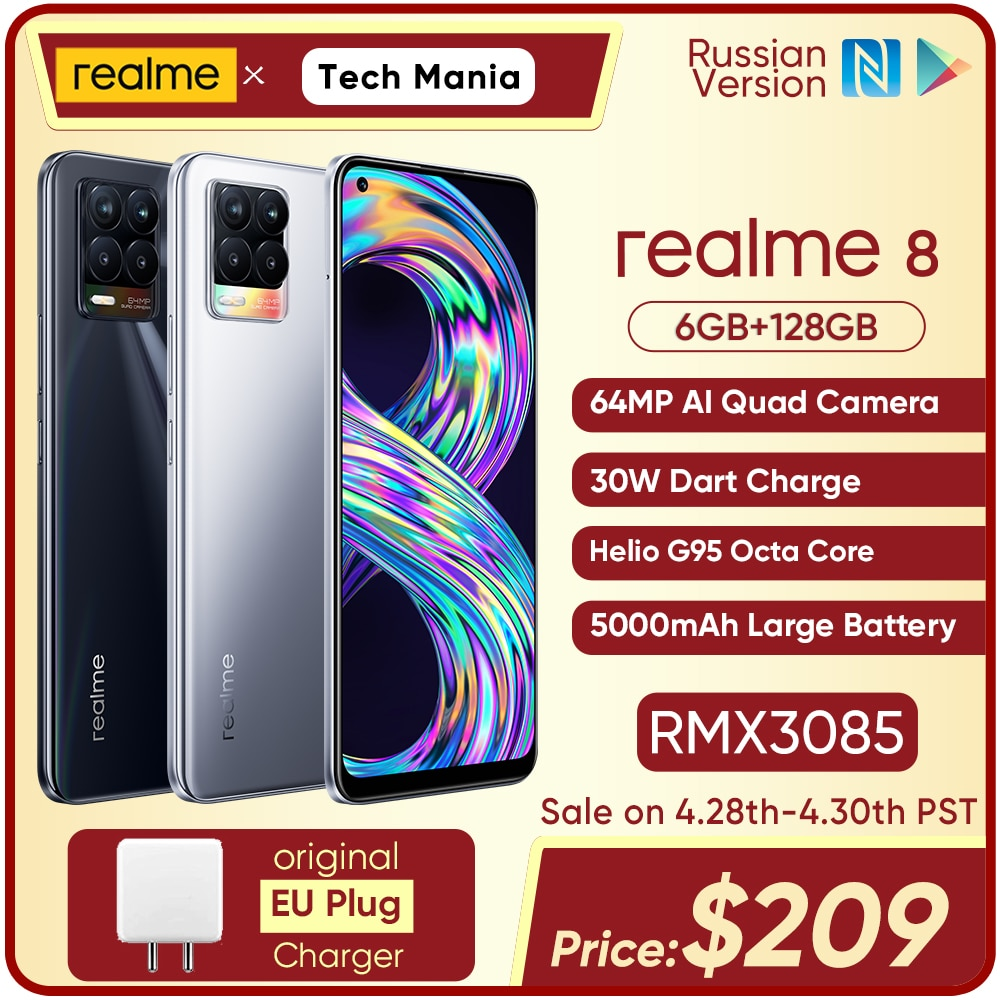 realme 8 6GB RAM 128GB ROM 30W Charge Mobile Phone Helio G95 Octa Core 6.44