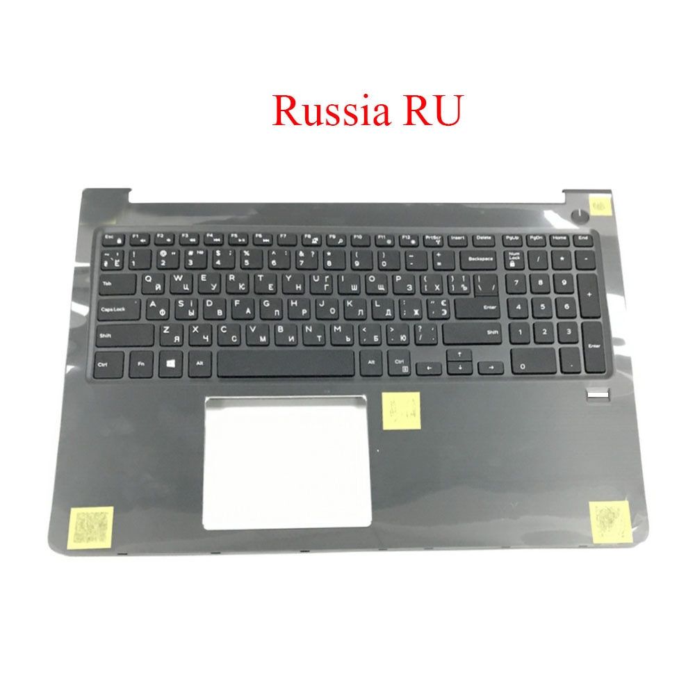 Teclado para Dell para Vostro Preto com Retroiluminado Rússia com Furo do Dedo Computador Portátil Palmrest 5568 V5568 P62f Case Superior Novo ru 15