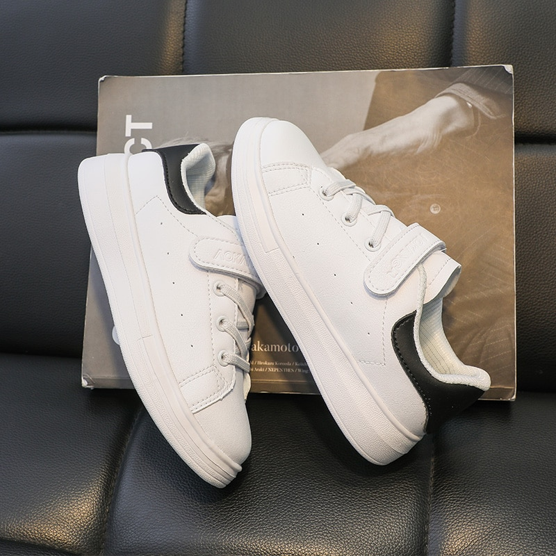 Kids Sneakers Boys Shoes Girls Sneakers Kids Leather White Shoes School Students Casual Flexible Sol