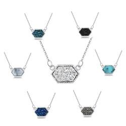Druzy drusy colar moda oval resina falso pedra colar marca jóias para meninas femininas