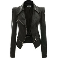 New 2019 Winter Autumn Motorcycle Faux Leather Jackets Zipper Basic Coat PU Jacket Turn-down Collar