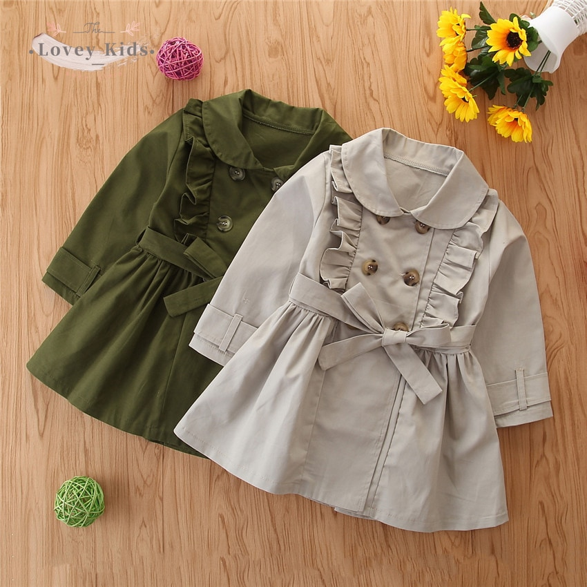 2020 Autumn Baby Girl Costs 1-6Y Fashion Korean Style Trench Lapel Long Sleeve with Belt Jacket Army