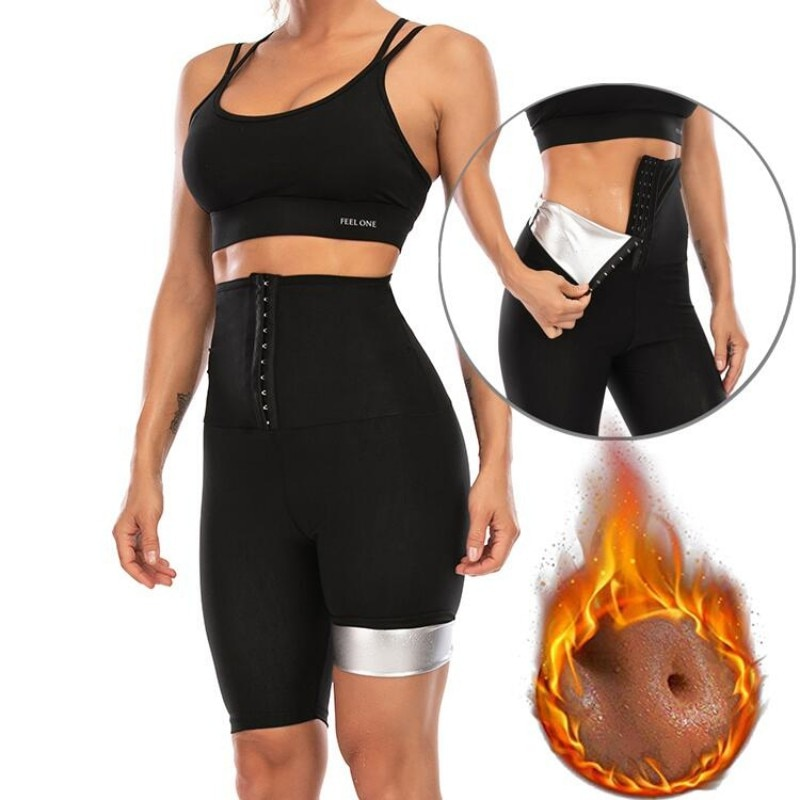 Women's Abdomen Control Hip-Lifting Sweat Pants Sauna Beam High Waist Body Fitness Breasted Three-Po